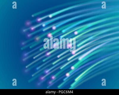 Data transmission over a fiber optic network. - Stock Photo