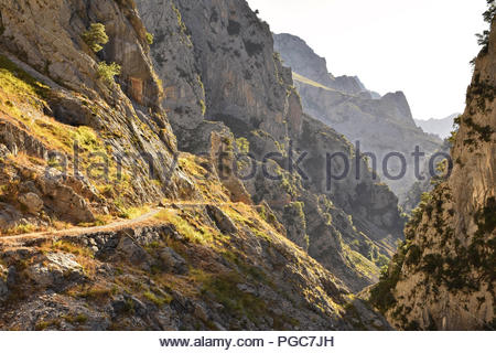 Cares Gorge route - hiking trail between towns of Poncebos and Cain in Picos de Europa National Park Cantabria Northern Spain. - Stock Photo