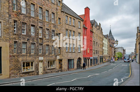 EDINBURGH SCOTLAND CANONGATE AND ROYAL MILE LOOKING DOWN TO THE CLOCK ON TOLBOOTH TAVERN - Stock Photo