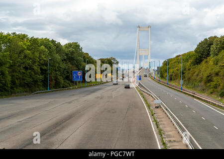 Toll plaza on the M48 Severn Crossing England/Wales border. UK - Stock Photo