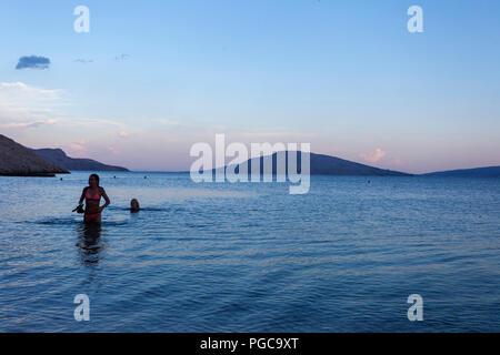 Sunset in Novalja, Pag island, Croatia - Stock Photo