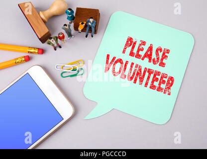 Please Volunteer. Business concept - Stock Photo