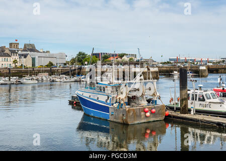 Cherbourg-Octeville, France - May 22, 2017: Fishing Boat in the port of Cherbourg-Octeville, on the north of the Cotentin peninsula, Cherbourg harbour - Stock Photo