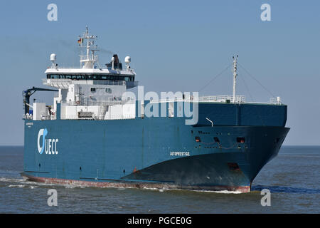 Carcarrier Autoprestige inbound port of Cuxhaven - Stock Photo