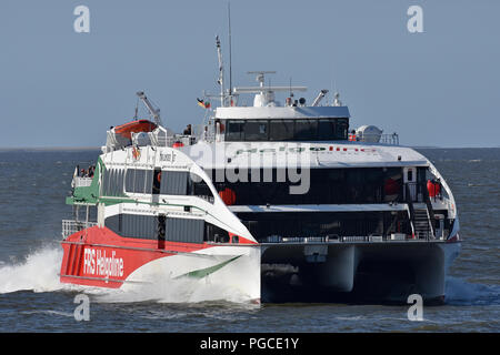 Highspeed-Ferry Halunder Jet returning to Cuxhaven from Helgoland - Stock Photo