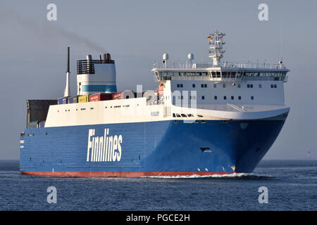 recently lengthened RoRo-Vessel Finnsky inbound for Kiel - Stock Photo
