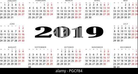 The horizontal calendar for 2019. Output is highlighted in red - Stock Photo