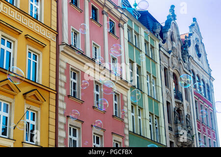 old colorful houses in the city centre - Stock Photo