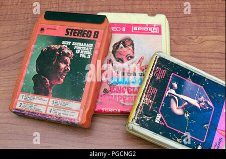 8-track stereo music cartridges from the 1970's - Stock Photo