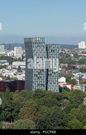 view of the Dancing Towers from the tower of St. Michael´s Church, Hamburg, Germany - Stock Photo