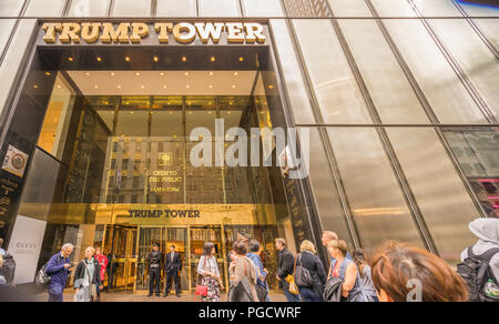 Entrance to Trump Tower in Manhattan, New York City - Stock Photo