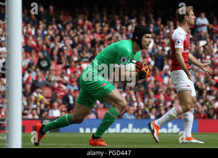 London, UK. 25th Aug 2018. Petr Cech (A) at the Arsenal v West Ham United English Premier League match at The Emirates Stadium, London, on August 25, 2018. **This picture is for editorial use only** Credit: Paul Marriott/Alamy Live News - Stock Photo