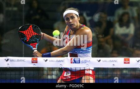 Andorra, Andorra. 25th Aug, 2018. Paddle tennis player Cecilia Reiter in action during the women's semifinal match of Worl Padel Tour's Vallbanc Andorra la Vella Open tournament in Andorra, 25 August 2018. The tournament runs from 20 to 26 August. Credit: Fernando Galindo./EFE/Alamy Live News - Stock Photo