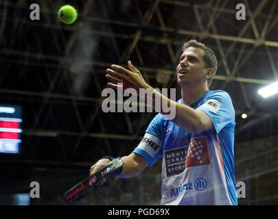 Andorra, Andorra. 25th Aug, 2018. Paddle tennis player Francisco Navarro in action during the men's semifinal match of Worl Padel Tour's Vallbanc Andorra la Vella Open tournament in Andorra, 25 August 2018. The tournament runs from 20 to 26 August. Credit: Fernando Galindo./EFE/Alamy Live News - Stock Photo