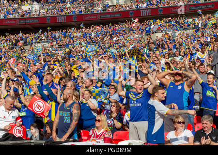 London, UK. 25th Aug, 2018. Saturday 25 August 2018 – The 117th staging of the Ladbrokes Challenge Cup Rugby League Final at Wembley Stadium between Warrington Wolves (The Wire) and Catalan Dragons. Both teams play in the Super League Credit: John Hopkins/Alamy Live News - Stock Photo