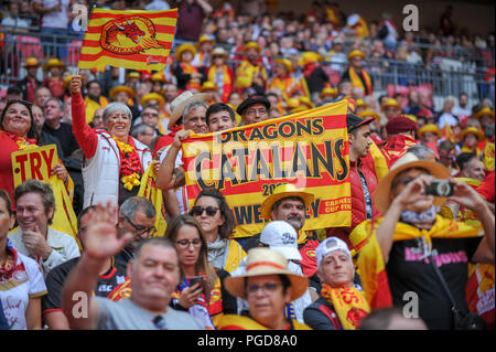 London, UK. 25th Aug, 2018. 25th August 2018 , Wembley, London, England;Ladbrokes Challenge Cup Final 2018, Catalans v Warrington ; Faces in the crowd Credit: News Images /Alamy Live News - Stock Photo