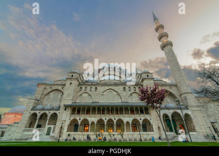 Exterior low angle shot of Suleymaniye Mosque before dusk. An Ottoman imperial mosque located in Istanbul, Turkey - Stock Photo