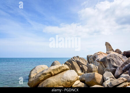 Hin Ta Hin Yai is a symbol famous tourist destinations, Beautiful rock coastline near the blue sea under the summer sky at Lamai beach of Koh Samui is - Stock Photo