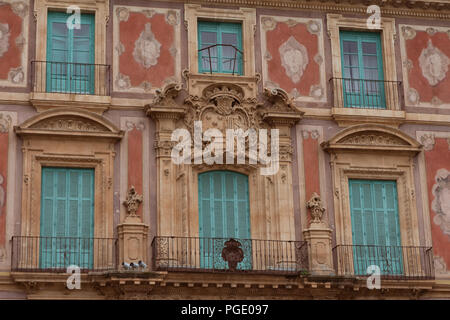 August 2017 - facade of an old building on Plaza del Cardenal Belluga, historic square in the center of Murcia, Spain - Stock Photo