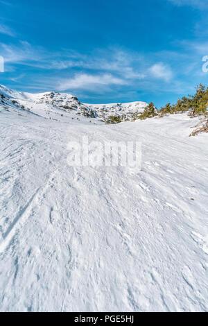Penalara Natural Park winter scene. 'Circo Glaciar' Cirque glacier covered with snow . Located in the Sierra de Guadarrama,  mountainous axis called t - Stock Photo