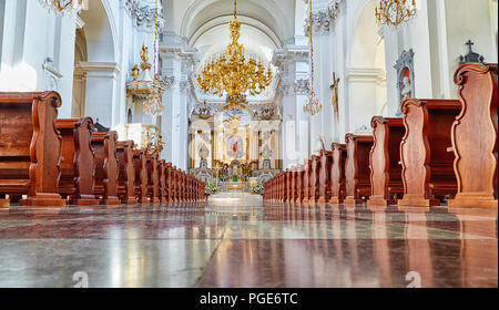 Interior of one of the most notable rococo churches in Poland's capital - Church of St. Joseph of the Visitationists, Warsaw, Poland - Stock Photo