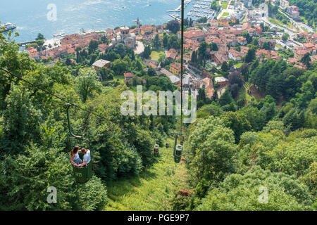 view of old cableway in Laveno on Maggiore lake - Stock Photo