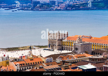 Top view of Commerce square in summer in downtown Lisbon, Portugal - Stock Photo
