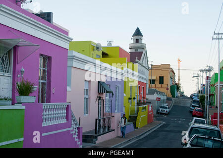 Colorful houses in the Bo-Kaap quarter of Cape Town South Africa - Stock Photo