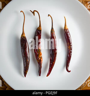Four puya chilies on a white plate against a pine wood and woven seagrass background, shot flat-lay - Stock Photo
