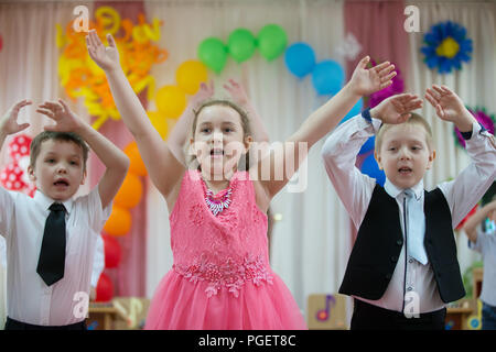 Belarus, Gomel, May 24 2018. The kindergarten is central. Open Day.Joyful children on the matinee - Stock Photo