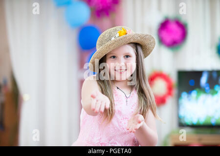 Belarus, Gomel, May 24 2018. The kindergarten is central. Open Day.Beautiful preschool girl dances on holiday - Stock Photo