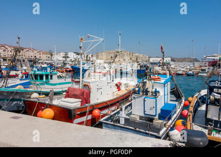 Small fishing boats at the fishing port of Tarifa, Costa de la Luz, Andalusia, Spain. - Stock Photo