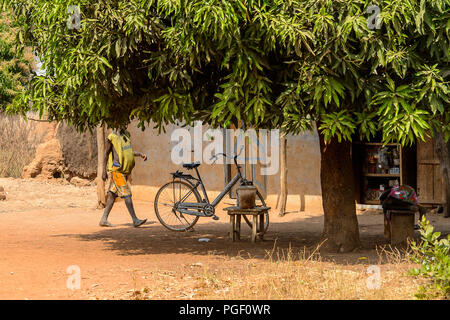 GHANI, GHANA - JAN 14, 2017: Unidentified Ghanaian little boy with a bicycle under the tree in a local village. Ghana people suffer of poverty due to  - Stock Photo