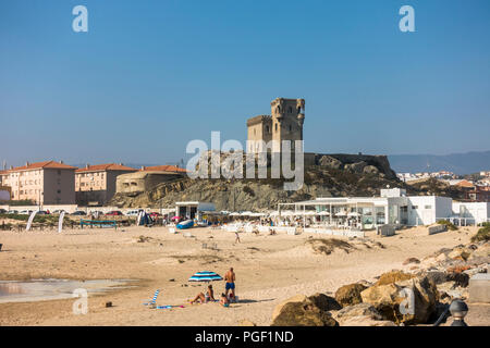 Santa Catalina Castle in Tarifa, Playa Chica, Costa de la Luz, Andalucia, Southern Spain. - Stock Photo