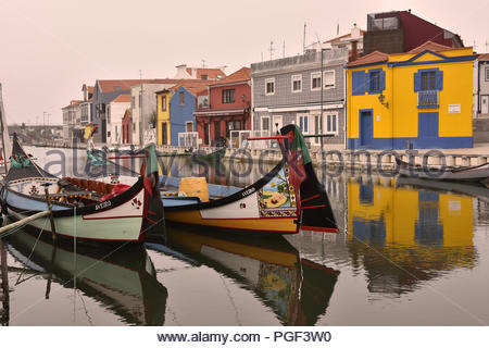 Traditional colorful architecture and decorated boats in Aveiro Portugal Europe. - Stock Photo