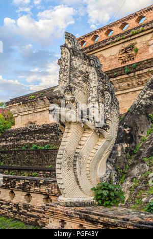 Detail of a Buddhist Naga Snake at Wat Chedi Luang, Chiang Mai, Thailand | Detail einer buddhistischen Naga Schlange im Wat Chedi Luang, Chiang Mai, T - Stock Photo
