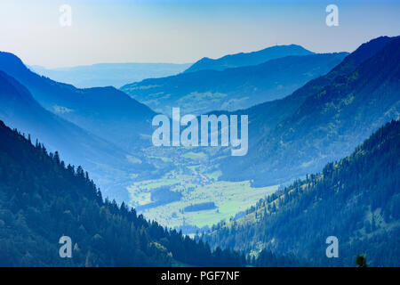 Bad Hindelang: valley Hintersteiner Tal, View to mountain Grünten, Schwaben, Allgäu, Swabia, Bayern, Bavaria, Germany - Stock Photo