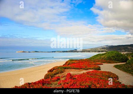 Beautful Pacific ocean seascape at Pebble beach near Monterey, California. Foggy background with crashing waves, sandy shore, rocks and blue cloud sky - Stock Photo