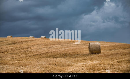 A view of open farmland showing golden bales of straw in a field set against a dark stormy sky. There is one main bale and some on a hill in distance - Stock Photo