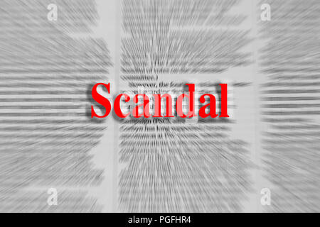 Scandal written in red with a newspaper article blurred in the background - Stock Photo