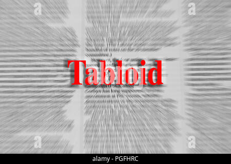 Tabloid written in red with a newspaper article blurred in the background - Stock Photo