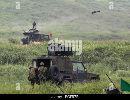 Gotemba, Japan. 26th Aug, 2018. Japanese Ground Self-Defense Forces an anti tank missile is fired during an annual live fire exercise at the Higashi-Fuji firing range in Gotemba, at the foot of Mt. Fuji in Shizuoka prefecture on Sunday, August 26, 2018. The annual drill involves some 2,400 personnels and 860 armoured vehicles. Credit: Yoshio Tsunoda/AFLO/Alamy Live News - Stock Photo