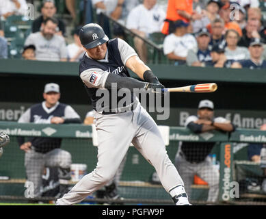 Baltimore, United States Of America. 24th Aug, 2018. New York Yankees first baseman Luke Voit (45) bats in the second inning against the Baltimore Orioles at Oriole Park at Camden Yards in Baltimore, MD on Friday, August 24, 2018. Credit: Ron Sachs/CNP (RESTRICTION: NO New York or New Jersey Newspapers or newspapers within a 75 mile radius of New York City) Photo via Credit: Newscom/Alamy Live News Stock Photo