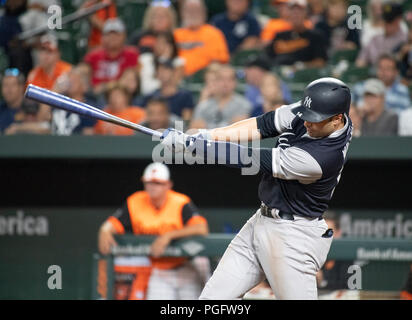 Baltimore, United States Of America. 24th Aug, 2018. New York Yankees second baseman Neil Walker (14) bats in the first inning against the Baltimore Orioles at Oriole Park at Camden Yards in Baltimore, MD on Friday, August 24, 2018. Credit: Ron Sachs/CNP (RESTRICTION: NO New York or New Jersey Newspapers or newspapers within a 75 mile radius of New York City) Photo via Credit: Newscom/Alamy Live News Stock Photo