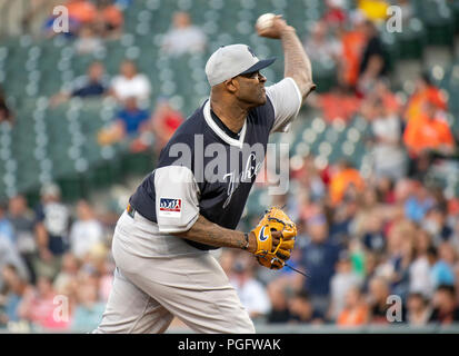Baltimore, United States Of America. 24th Aug, 2018. New York Yankees starting pitcher CC Sabathia (52) works in the first inning against the Baltimore Orioles at Oriole Park at Camden Yards in Baltimore, MD on Friday, August 24, 2018. Credit: Ron Sachs/CNP (RESTRICTION: NO New York or New Jersey Newspapers or newspapers within a 75 mile radius of New York City) Photo via Credit: Newscom/Alamy Live News Stock Photo