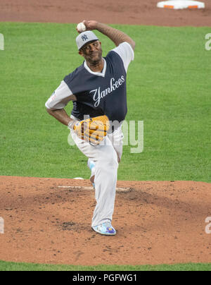 Baltimore, United States Of America. 24th Aug, 2018. New York Yankees starting pitcher CC Sabathia (52) works in the first inning against the Baltimore Orioles at Oriole Park at Camden Yards in Baltimore, MD on Friday, August 24, 2018. Credit: Ron Sachs/CNP (RESTRICTION: NO New York or New Jersey Newspapers or newspapers within a 75 mile radius of New York City) | usage worldwide Credit: dpa/Alamy Live News Stock Photo