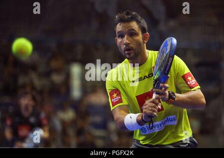 Andorra, Andorra. 26th Aug, 2018. Argentinian paddle tennis player Sanyo Gutierrez in action during Open Vallbanc Andorra la Vella tournament' men's final match in Andorra, 26 August 2018. Credit: Fernando Galindo/EFE/Alamy Live News - Stock Photo