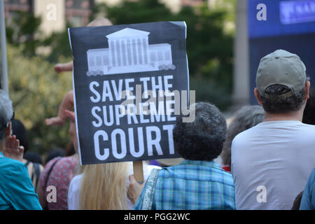 New York, USA. 26th Aug 2018. People protesting Supreme Court nominee Brett Kavanaugh at a rally in New York City.. Credit: Christopher Penler/Alamy Live News - Stock Photo