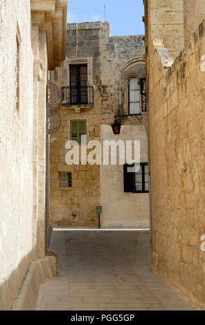 Typical view of Mdina streets,Malta. - Stock Photo
