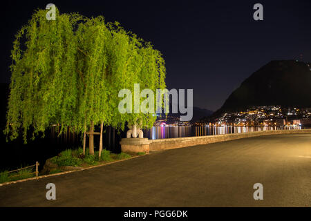 Nightlife in Lugano, Ticinio, Switzerland - Stock Photo